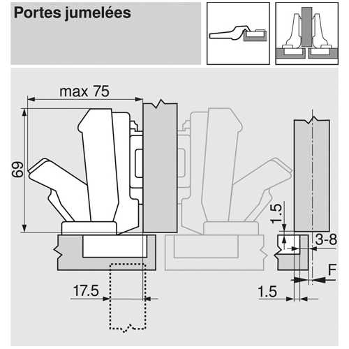 CHARNIÈRE 170° À VISSER/SEMI-APPLIQUE