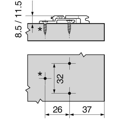 EMBASE CROIX HT : 17,5 MM VIS AGGLO