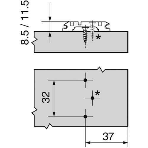 EMBASE CROIX HT : 8,5 MM VIS AGGLO